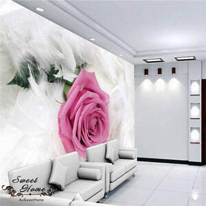 3d Big Rose White Feather Wallpaper Full Wall Mural Photo Printed Home Decor Kid