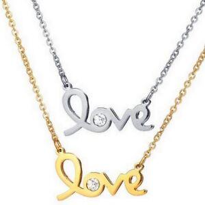 Damen-Edelstahl-Kette-Halskette-mit-Love-Liebe-Zirkonia-Anhaenger-silber-gold