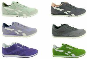 Reebok-Classic-Nylon-Slim-Leather-Cuir-Femmes-Chaussures-De-Sport-Sneaker