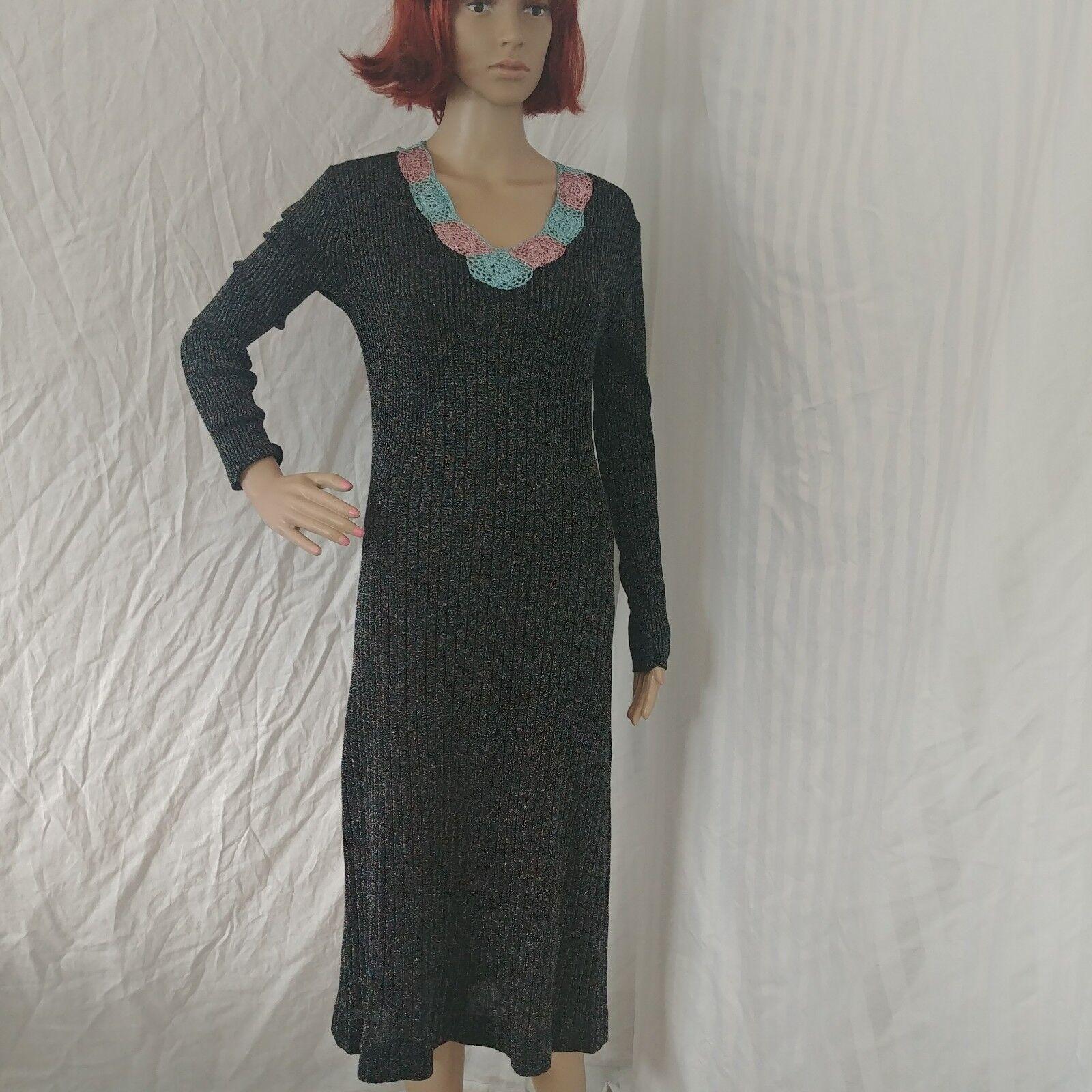 Wenjilli vintage années 70 tricot robe longue noir rose brillant bleu 4 6