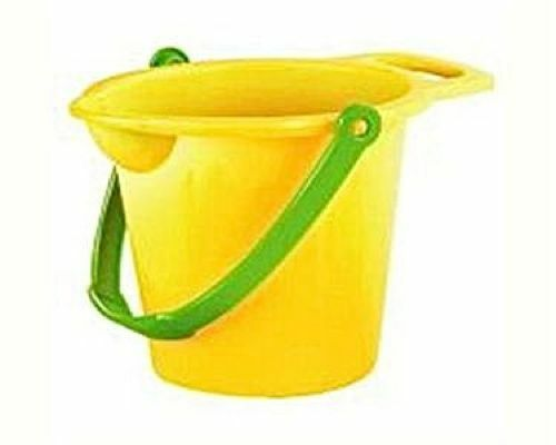 BEACH BUCKET WITH SPOUT 17.5CM SAND BEACH SANDPIT TOYS YELLOW OR ORANGE