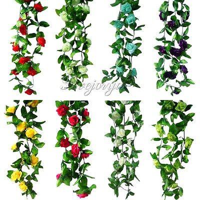 Artificial Silk Rose Flower Ivy Vine Leaf Garland Wedding Party Floral Decor