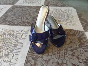 Talbots-Blue-Patent-Leather-Slip-On-Sandals-Size-6M