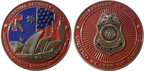 """RARE American Embassy Sydney Australia Diplomatic Security Challenge Coin  2/"""" 70"""