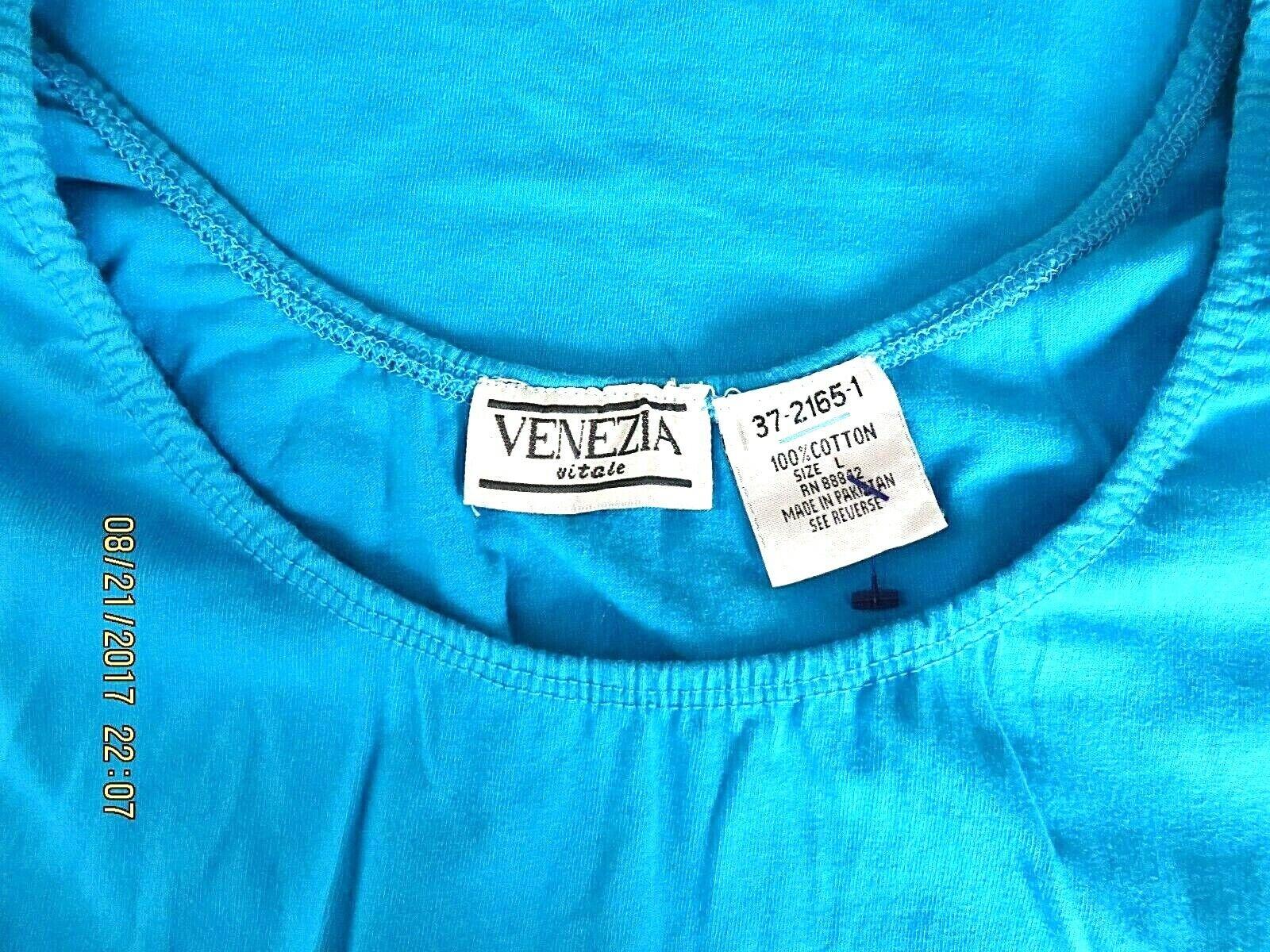 VENEZIA VITALE SZ L 100% Cotton Turquoise Blue Ru… - image 9