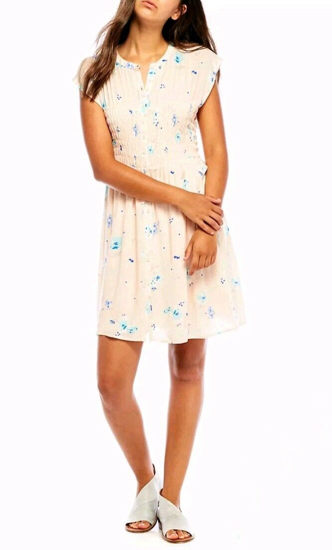 Free People NWT Greatest Day Smocked Floral Print Mini Dress Blaush Combo XS