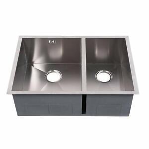 Kitchen-Sink-29-039-039-x20-039-039-x10-039-039-Double-Bowl-70-30-Undermount-Zero-Radius-18-Gauge