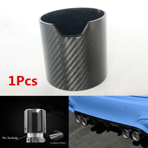 1x Glossy Black Carbon Fiber Car Exhaust Pipe Cover Muffler Pipe Tip Shell Case