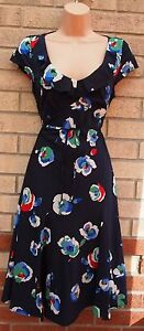 PER-UNA-NAVY-BLUE-WHITE-RED-FLORAL-BELTED-SILKY-SKATER-FLIPPY-A-LINE-DRESS-8