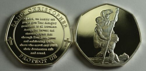 24ct Gold 2x St Christopher Protect Us Collectors Album//Token//Medal .999 Silver