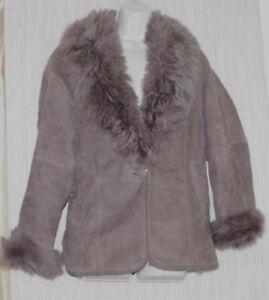 Brown Coat l Korea Bomber Women's Vintage United Fashion Size Shearling System HWqByE