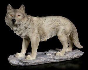 Graue-Wolf-Figur-Eine-Faehrte-in-der-Luft-Wildtier-Deko-Statue-Hund