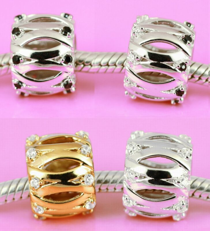 Sterling Silver Elegant Cz Big Bead Black / Clear Cz Gems Fit Charm Bracelet Aus