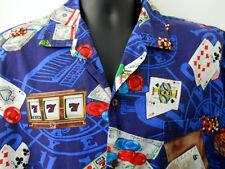 Pacific Legend Shirt Large Gambling Mens Cards Roulette Craps Slot Machines Blue