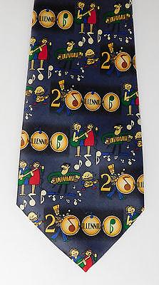 Millennium silk tie Year 2000 music party guitar concertina 2k Rene Chagal