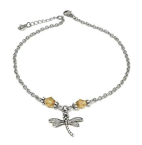 Holiday Ankle Bracelet Dragonfly Anklet with Amber Beads Vacation Beach