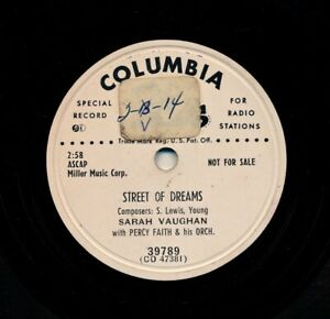 SARAH-VAUGHAN-on-1952-Columbia-39789-Street-of-Dreams-Time-To-Go