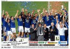 Poster Schalke 04 DFB Pokalsieger 2001 mit Huub Stevens Nemec Reck Möller Thon