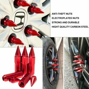 Car 60mm M14X1.5 Spiked Lug Nuts Extended Tuner Wheel Rims For Honda Acura RED