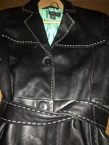 pelle nero intero cucito Cappotto episodio vera in Xwx0RqnHPa