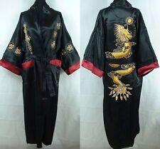 Black Men's Silk/Satin Japanese Chinese Kimono Dressing Gown Bath Robe Nightwear