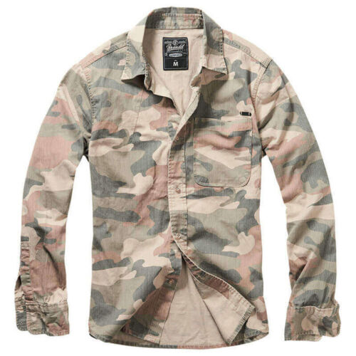 Hemd Brandit 4019 Josh Shirt Longsleeve Paintball Outdoor Langarm Light Woodland