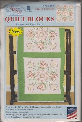 """1 Pk Jack Dempsey /""""Cardinals/"""" Stamped Xstitch//Embroidery Quilt Blocks"""