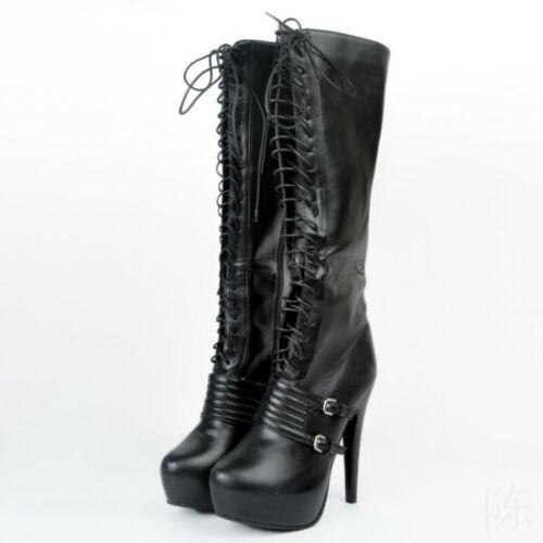 Damen Rund Schnürer Reißverschluss Kniehoch Stiefel Hoher Absatz Clubwear Pumps