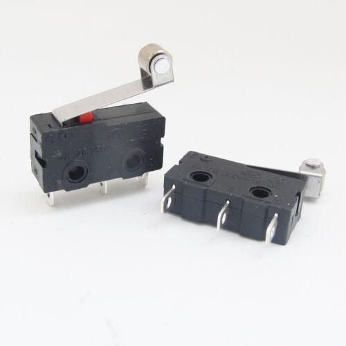 50pcs Mini Micro Switch Metal Roller Lever Limit Switch N.O//N.C 5A 125V 20x10mm
