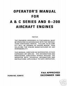 Continental operators manual x30012 o-200 a & c series | ebay.