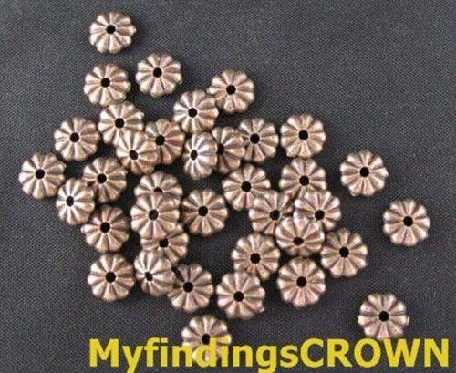 200PCS Antique Cuivre Ridged Flat Round Spacer Beads FC92
