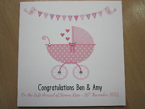 Personalised Handmade Newborn Baby Girl Card Proud Parents Granddaughter