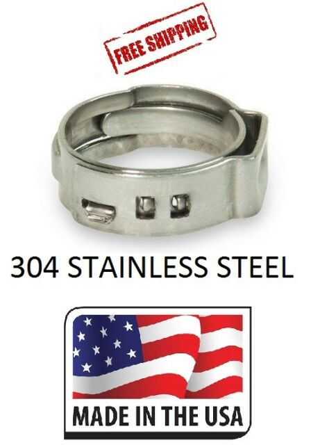 3//4 Inch PEX 304 Stainless Steel Clamp Cinch Rings Crimp pinch Fitting 100pcs