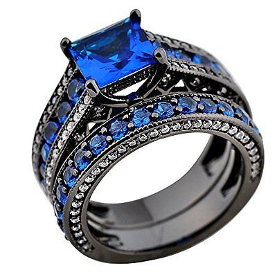 Rongxing Jewelry Couple Blue Sapphire Ring Sets Size 8 Womens Black Gold Wedding
