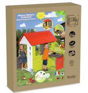Image Is Loading Smoby Nature Playhouse With Kitchen And Cutlery BNIB
