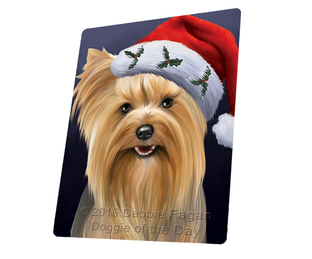 Christmas Yorkshire Terriers Dog Santa Hat Woven Throw Sherpa Blanket T440
