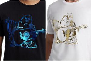 True-Religion-Herren-Metallische-Folie-Buddha-Logo-Tee-T-Shirt-in-schwarz