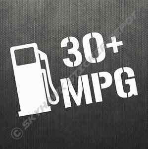 30 miles per gallon mpg bumper sticker vinyl decal car hybrid diesel fits prius ebay. Black Bedroom Furniture Sets. Home Design Ideas