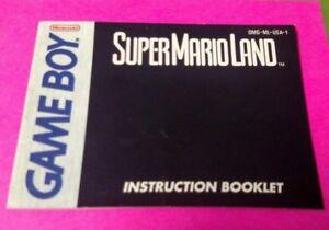 Super Mario Land  - Nintendo Game Boy Instruction MANUAL ONLY - No Game