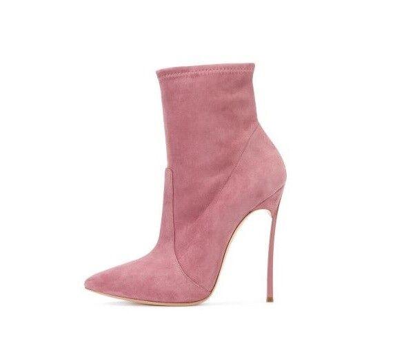 Stivali kim kardashian rosa  simil pelle pelle pelle caviglia stiletto 12 scamosciati 16 585577