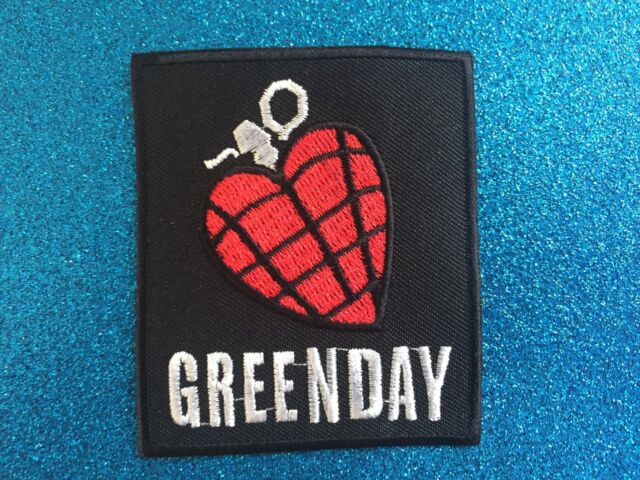 GREEN Heart Grenade Red Punk  Grunge Music Band Stitched Iron ON Patch Patches
