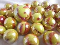 25 Glass Marbles Sun Fire Red/yellow Opal Iridescent Shooter Game Style Swirl