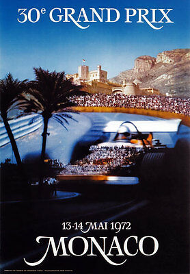 AV98 Vintage 1972 Monaco Grand Prix Classic Motor Racing Poster RePrint A2//A3