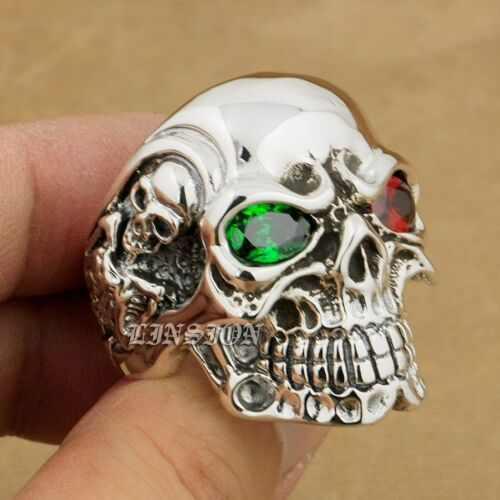 Colorful CZ Eyes 925 Sterling Silver Titan Skull Mens Gothic Ring Punk Jewelry