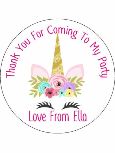 Unicorn Pretty Lashes Personalised Stickers Thank You Party Bags 36 24 x 45mm U4