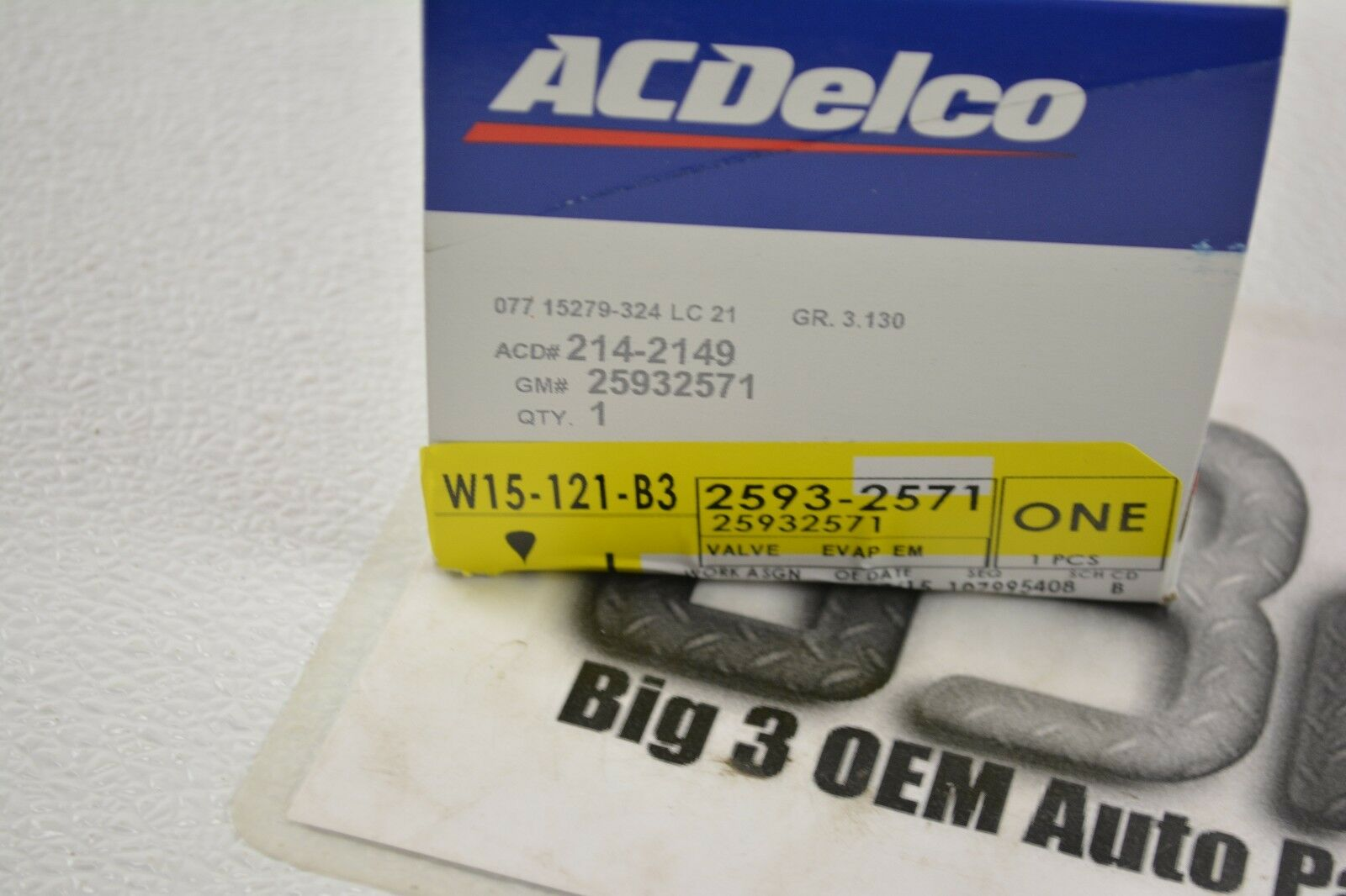 ACDelco 214-2149 Original GM Vapor Canister Purge Solenoid Valve new OE 25932571