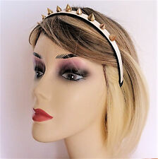Fab White Leather Look Headband with Gold Tone Studs Goth Punk 1 cm wide