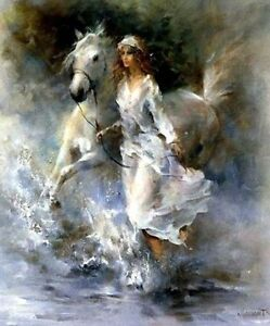 CHOP304 100% hand-painted Figure girl horse home art oil painting on canvas