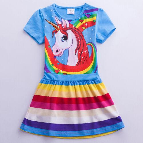 Pony stripes rainbow printed Girl kid height104-128cm T-shirt dress  S6218