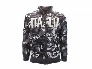 Felpa-Italia-Camo-Vegetata-Camouflage-stemma-Italia-zip-fino-a-XXXL